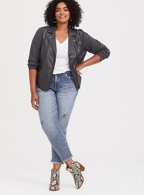 Dark Grey Faux Leather & Ponte Moto Jacket, , hi-res
