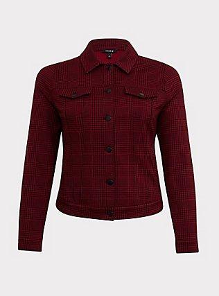 Red & Black Plaid Ponte Crop Trucker Jacket, PLAID, ls