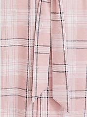 Plus Size Blush Pink Plaid Self-Tie Longline Blazer, PLAID, alternate