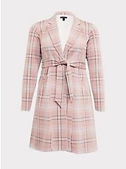 Plus Size Blush Pink Plaid Self-Tie Longline Blazer, PLAID, hi-res