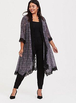 Grey Floral Skull Chiffon Longline Kimono, DEEP BLACK, hi-res