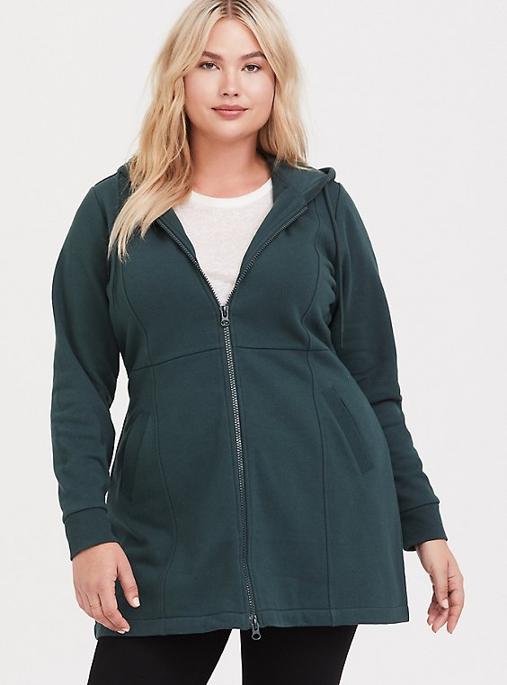 Plus Size Dark Green Longline Hooded Zip Jacket, , hi-res