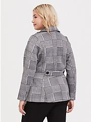Grey Houndstooth Plaid Double-Breasted Pea Coat, PLAID, alternate
