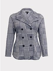 Grey Houndstooth Plaid Double-Breasted Pea Coat, PLAID, hi-res