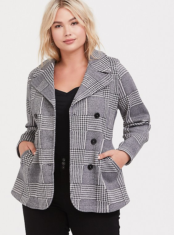 Grey Houndstooth Plaid Double-Breasted Pea Coat, , hi-res