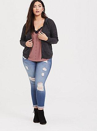 Plus Size Super Soft Plush Dark Grey Zip Hoodie, DEEP BLACK, alternate