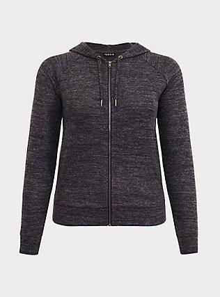 Super Soft Plush Dark Grey Zip Hoodie, DEEP BLACK, flat
