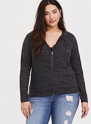 Plus Size Super Soft Plush Dark Grey Zip Hoodie, DEEP BLACK, hi-res