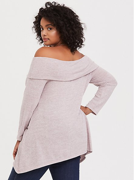 Super Soft Plush Dusty Pink Off Shoulder Pullover, QUARTZ, alternate