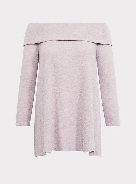 Super Soft Plush Dusty Pink Off Shoulder Pullover, QUARTZ, hi-res