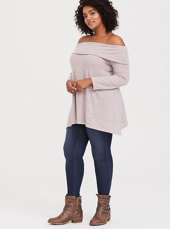 Plus Size Super Soft Plush Dusty Pink Off Shoulder Pullover, , hi-res