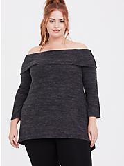 Super Soft Plush Dark Grey Off Shoulder Pullover Top, DEEP BLACK, alternate