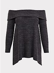 Super Soft Plush Dark Grey Off Shoulder Pullover Top, DEEP BLACK, hi-res