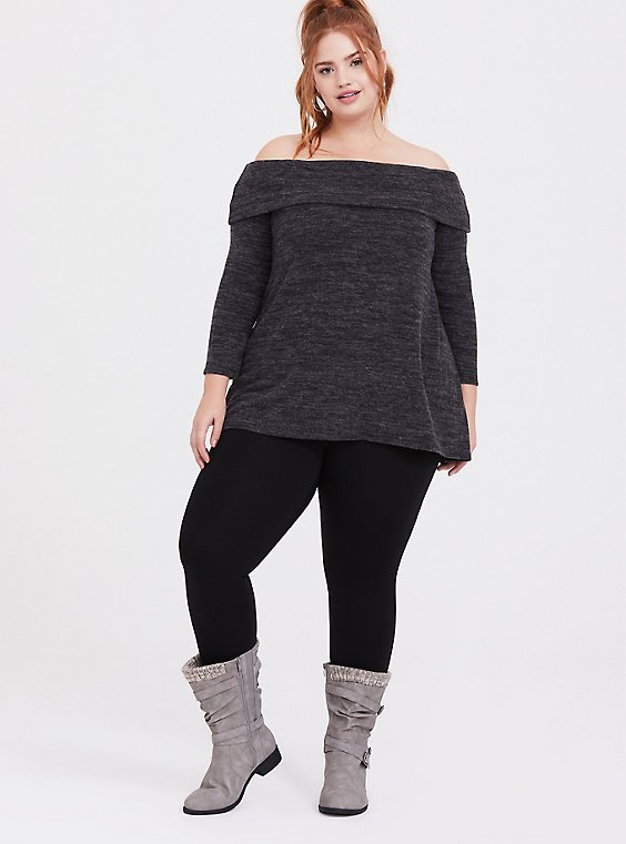 Super Soft Plush Dark Grey Off Shoulder Pullover Top, , hi-res