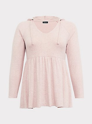 Super Soft Plush Light Pink Babydoll Hoodie, PALE BLUSH, flat
