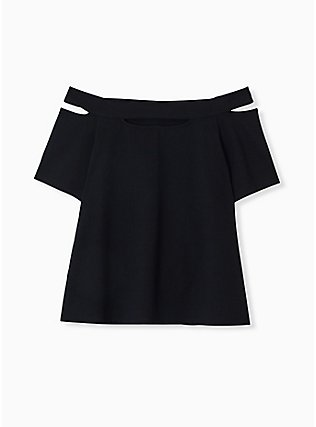 Black Cutout Off Shoulder Foxy Tee, DEEP BLACK, flat