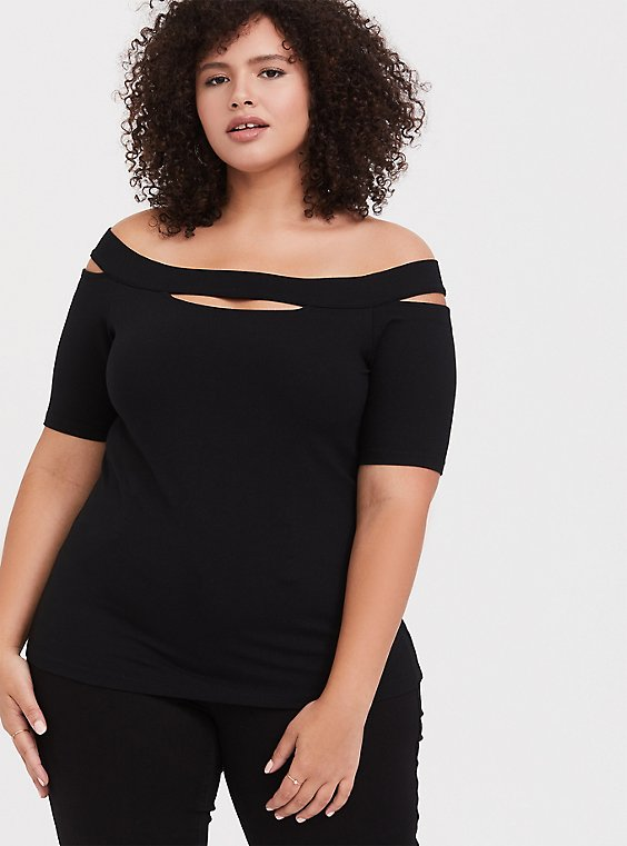 Plus Size Black Cutout Off Shoulder Foxy Tee, , hi-res