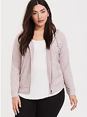Super Soft Plush Dusty Pink Zip Hoodie, QUARTZ PINK, alternate