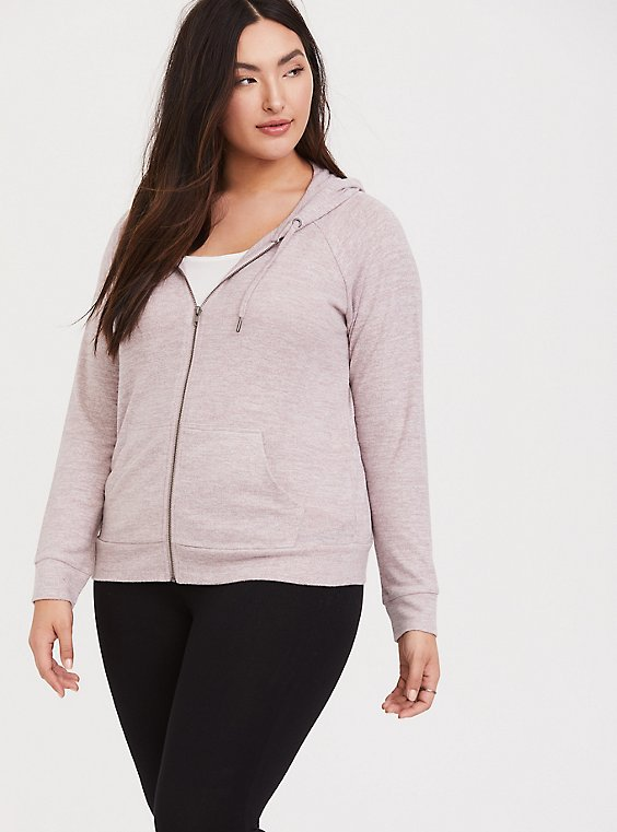 Plus Size Super Soft Plush Dusty Pink Zip Hoodie, , hi-res