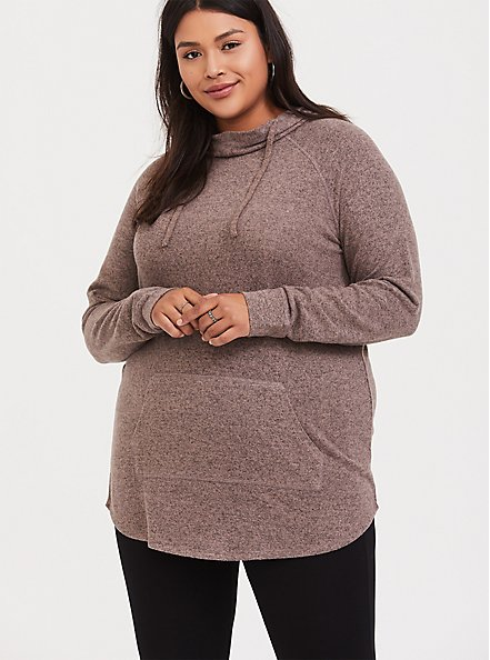 Super Soft Plush Taupe Cowl Neck Hoodie, WARMED STONE, alternate