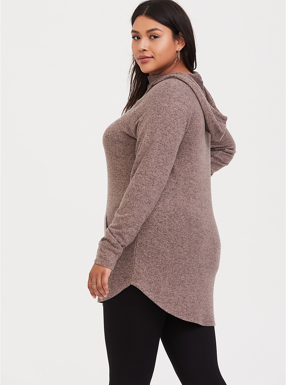 Super Soft Plush Taupe Cowl Neck Hoodie, WARMED STONE, hi-res