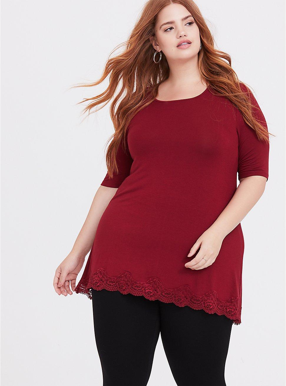 Plus Size Super Soft Dark Red Lace Trim Tunic Tee, BIKING RED, hi-res