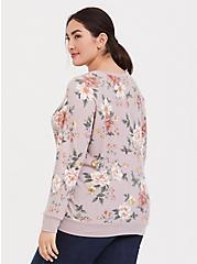 Super Soft Plush Lilac Purple Floral Raglan Sweatshirt, FLORAL - GREY, alternate