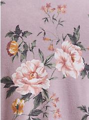 Plus Size Super Soft Plush Lilac Purple Floral Raglan Sweatshirt, FLORAL - GREY, alternate