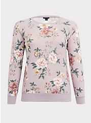 Super Soft Plush Lilac Purple Floral Raglan Sweatshirt, FLORAL - GREY, hi-res