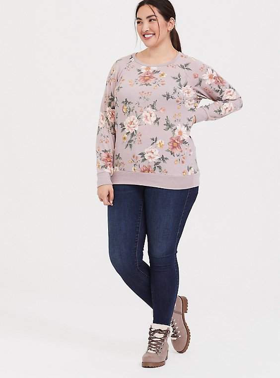 Plus Size Super Soft Plush Lilac Purple Floral Raglan Sweatshirt, , hi-res
