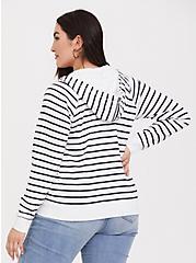 Dark Grey & White Striped Zip Up Hoodie, STRIPE - WHITE, alternate