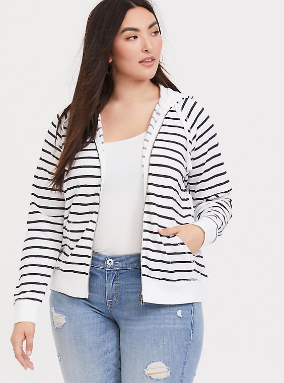 Plus Size Dark Grey & White Striped Zip Up Hoodie, , hi-res
