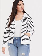 Dark Grey & White Striped Zip Up Hoodie, STRIPE - WHITE, hi-res