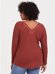 Plus Size Brick Red Waffle Knit Lace Trim Henley Long Sleeve Tee, BURNT BRICK, alternate