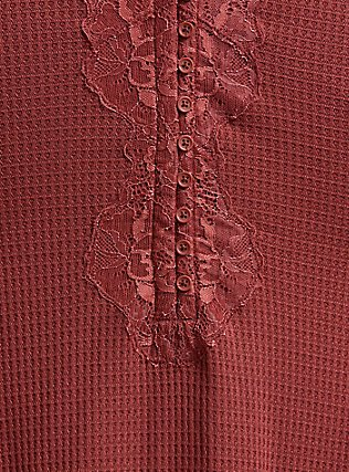 Brick Red Waffle Knit Lace Trim Henley Long Sleeve Tee, BURNT BRICK, alternate