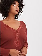 Plus Size Brick Red Waffle Knit Lace Trim Henley Long Sleeve Tee, BURNT BRICK, hi-res