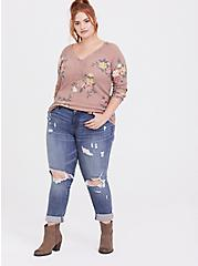 Taupe Floral Waffle Knit Lace Trim Henley Long Sleeve Tee, FLORAL - OLIVE, alternate