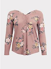 Taupe Floral Waffle Knit Lace Trim Henley Long Sleeve Tee, FLORAL - OLIVE, hi-res