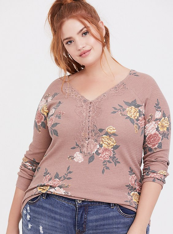 Plus Size Taupe Floral Waffle Knit Lace Trim Henley Long Sleeve Tee, , hi-res