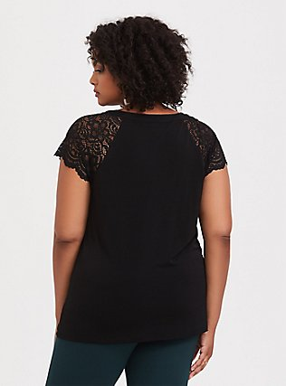 Black Studio Knit Lace Sleeve Top, DEEP BLACK, alternate