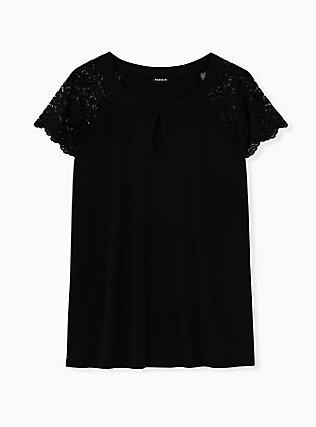 Black Studio Knit Lace Sleeve Top, DEEP BLACK, flat