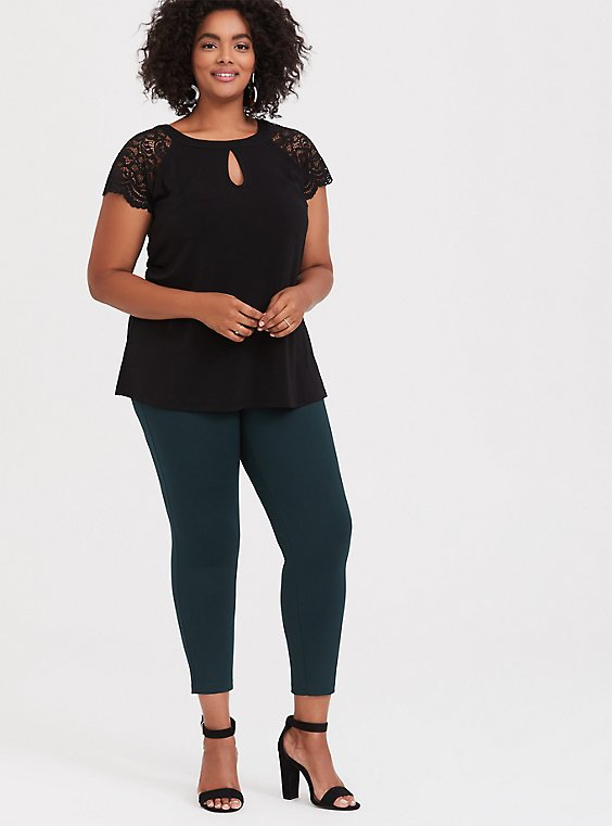 Plus Size Black Studio Knit Lace Sleeve Top, DEEP BLACK, hi-res