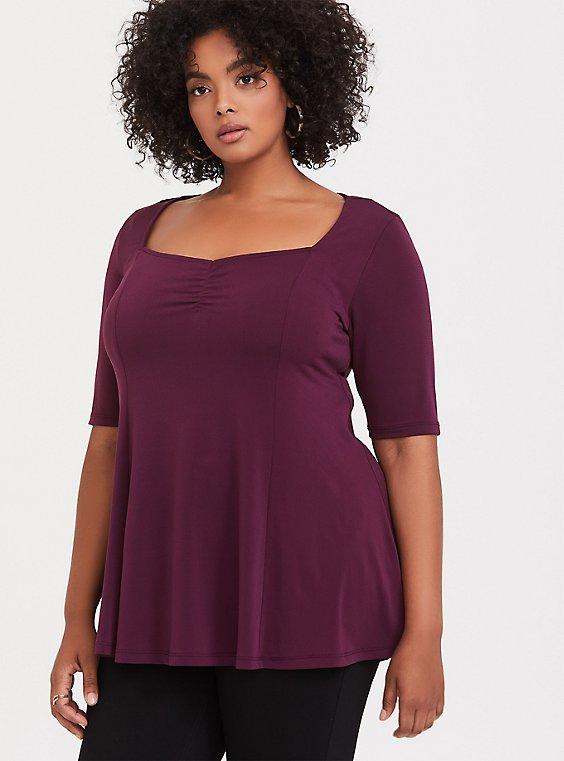Plus Size Burgundy Purple Studio Knit Sweetheart Top, , hi-res
