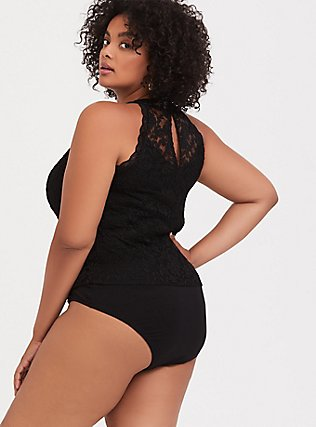 Black Lace High Neck Bodysuit, DEEP BLACK, alternate