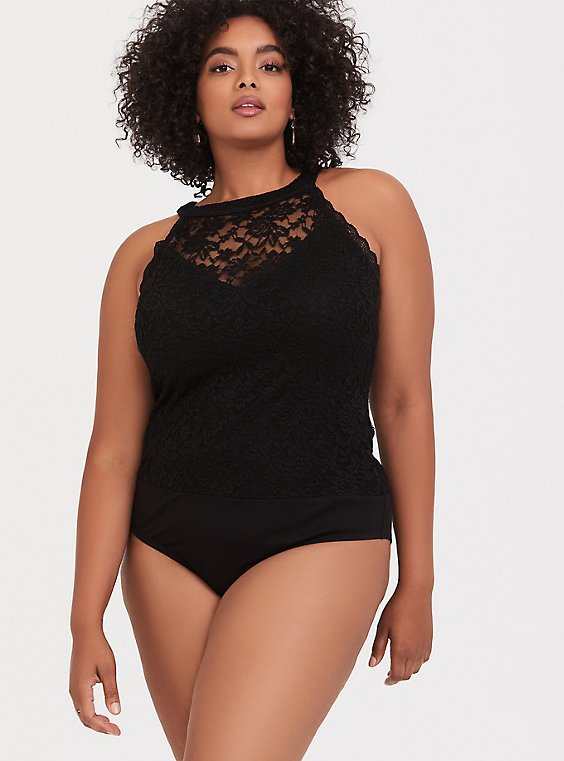 Black Lace High Neck Bodysuit, , hi-res