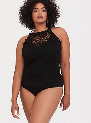 Black Lace High Neck Bodysuit, DEEP BLACK, hi-res