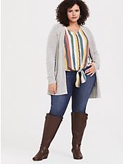 Multi Stripe Button Tie-Front Crop Tee, COLORFUL STRIPE, alternate