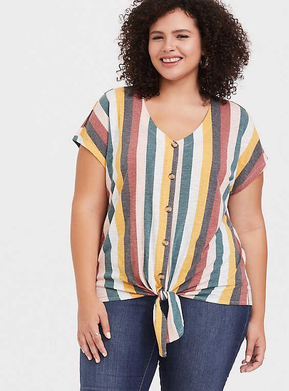 Multi Stripe Button Tie-Front Crop Tee, COLORFUL STRIPE, hi-res