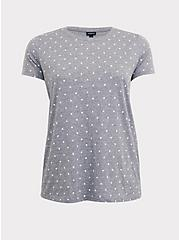 Classic Fit Crew Tee - Triblend Jersey Polka Dot Heathered Grey, DOTS - GREY, hi-res