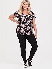 Breast Cancer Awareness Classic Fit V-Neck Tee - Heritage Slub Floral Black & Pink, FLORAL - BLACK, alternate